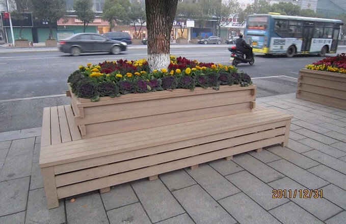 Attractive Wood Plastic Composite Street Flower Boxes